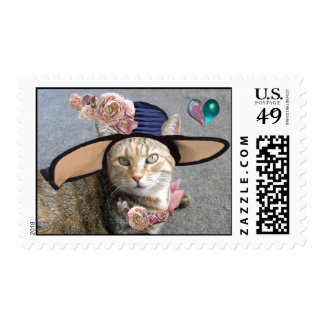 ELEGANT CAT WITH BIG DIVA HAT,PINK ROSES Valentine Stamp