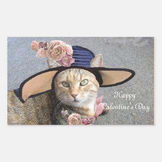 ELEGANT CAT WITH BIG DIVA HAT,PINK ROSES Valentine Rectangle Sticker