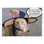 ELEGANT CAT WITH DIVA HAT,PINK ROSES Mother's Day Card