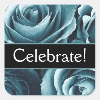 Elegant Celebrate Party Stamp Square Sticker
