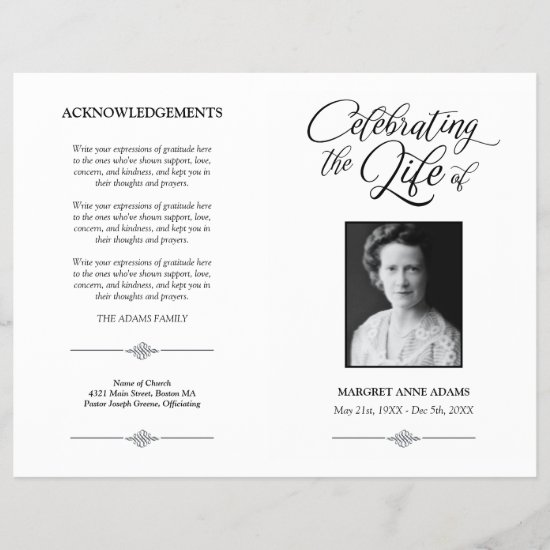 Elegant Celebration of Life Funeral Program