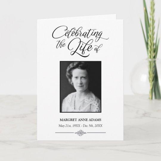elegant celebration of life funeral program zazzle com