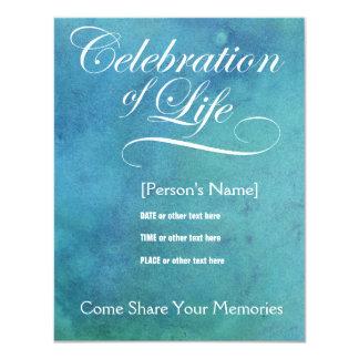 "Elegant Celebration of Life Memorial Invitation 4.25"" X 5.5"" Invitation Card"