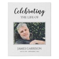 Elegant Celebration Of Life Photo Funeral Faux Canvas Print