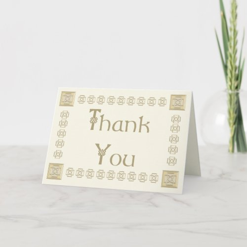 Elegant Celtic Knot Thank You Card in Ivory & Gold
