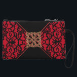 "Elegant Celtic Red with Black Lace Clutch Bag<br><div class=""desc"">Elegant Celtic Red with Black Lace Clutch Bag or Purse for your favorite necessities on a night out. Vintage style black lace on a red background with a black tie and Gold and red Celtic Knot for a buckle.</div>"