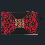 """Elegant Celtic Red with Black Lace Clutch Bag<br><div class=""""desc"""">Elegant Celtic Red with Black Lace Clutch Bag or Purse for your favorite necessities on a night out. Vintage style black lace on a red background with a black tie and Gold and red Celtic Knot for a buckle.</div>"""