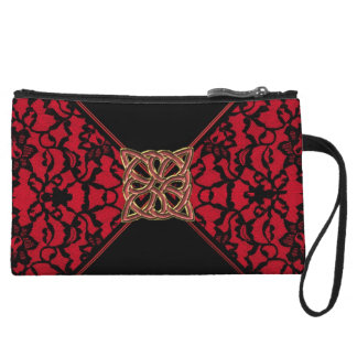 Elegant Celtic Red with Black Lace Clutch Bag
