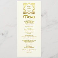 Elegant Celtic Wedding Ivory Faux Gold Celtic Knot Menu