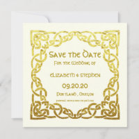 Elegant Celtic Wedding Ivory Faux Gold Celtic Knot Save The Date