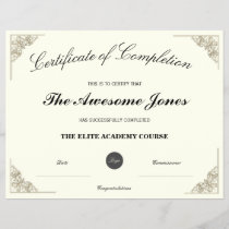 Elegant Certificate of Completion with Custom Logo