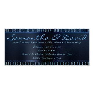 "Elegant chains of blue sparkles Wedding invitation 4"" X 9.25"" Invitation Card"