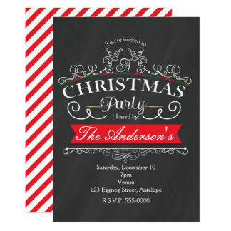 Elegant Chalk Christmas  Holiday Party Invitations