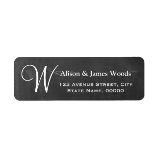 Elegant Chalkboard Blackboard Monogram Wedding Label