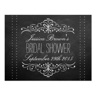 Elegant Chalkboard Bridal Shower Recipe Cards Postcard