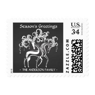 Elegant Chalkboard Christmas Reindeer Post Card Postage