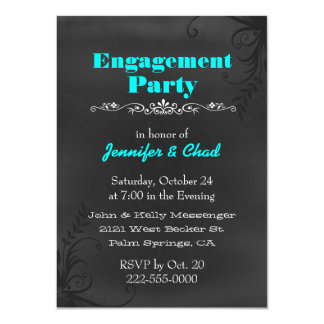 "Elegant Chalkboard Engagement Party Custom 4.5"" X 6.25"" Invitation Card"
