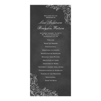 Elegant Chalkboard Filigree Wedding Program