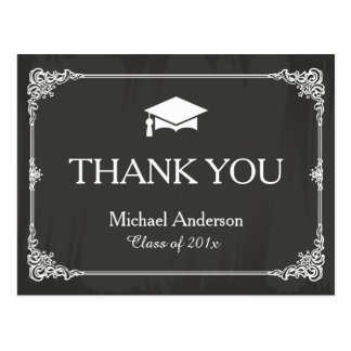Elegant Chalkboard Grad Cap Graduation Thank You Postcard