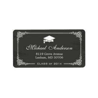 Elegant Chalkboard Graduation Cap Grad Graduate Label