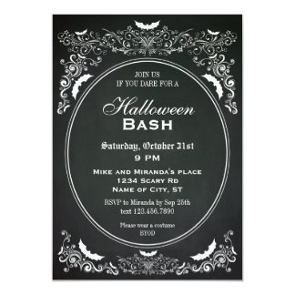 Elegant Chalkboard Halloween Invitation