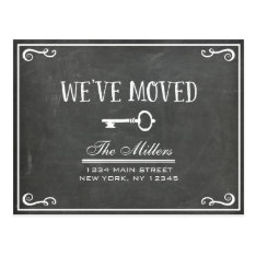 Elegant Chalkboard Key Moving Announcement Postcard at Zazzle