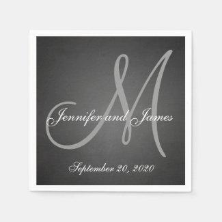 Elegant Chalkboard Monogram Paper Napkins