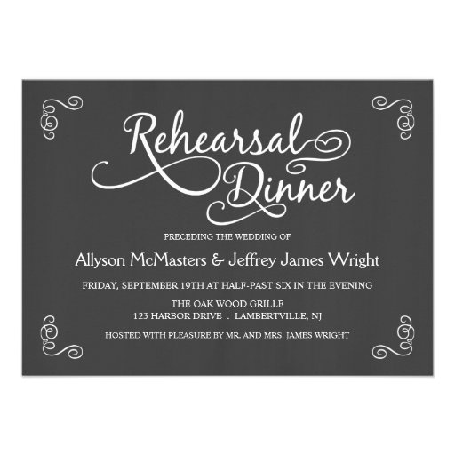 Elegant Chalkboard Rehearsal Dinner Invitations