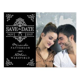 Elegant Chalkboard Save the Date Photo Postcard