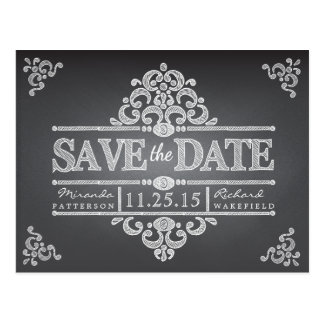Elegant Chalkboard Save the Date Wedding Postcard