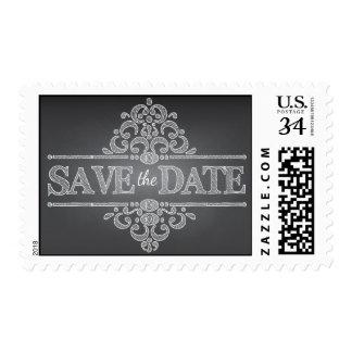 Elegant Chalkboard Save the Date Wedding Stamp