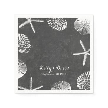Beach Themed Elegant Chalkboard Seashells Beach Wedding Napkin