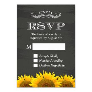 Elegant Chalkboard Sunflowers Decor RSVP Reply Card