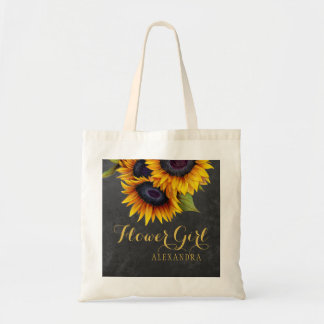 Elegant chalkboard sunflowers wedding bridesmaid tote bag