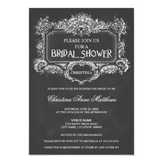 Elegant Chalkboard Vintage Ornament Bridal Shower Card
