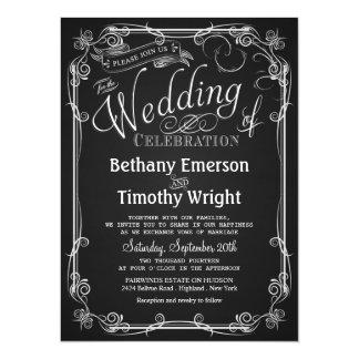 Elegant Chalkboard Wedding Invitation