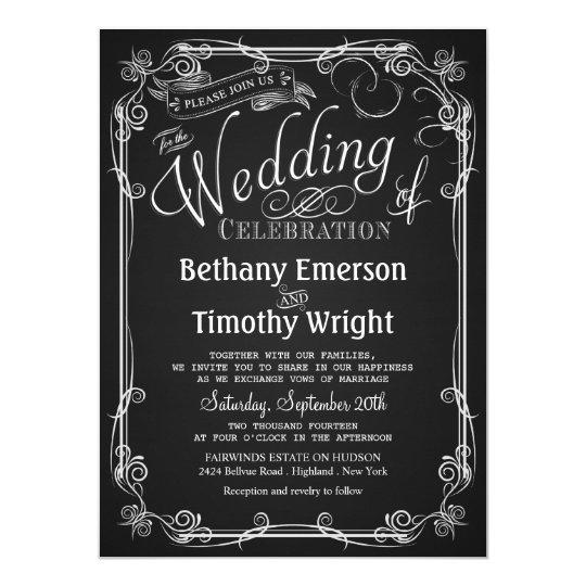 Elegant chalkboard wedding invitation zazzle elegant chalkboard wedding invitation filmwisefo