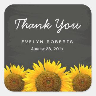 Elegant Chalkboard Yellow Sunflowers Thank You Square Sticker