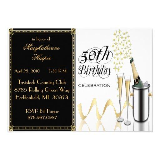 Elegant Champagne 50th Birthday Party Invitation
