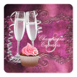 Elegant Champagne and Cupcake Bridal Shower Card
