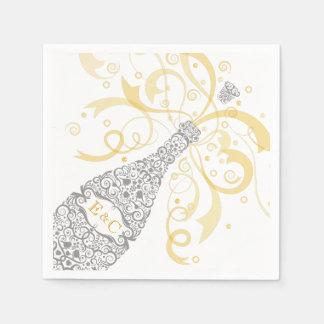 Elegant Champagne Bottle Paper Napkin
