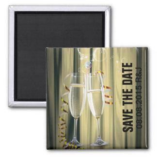 elegant Champagne glasses celebration party 2 Inch Square Magnet