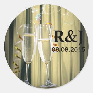 elegant Champagne glasses celebration party Classic Round Sticker