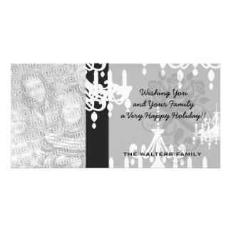 elegant chandelier black white damask card