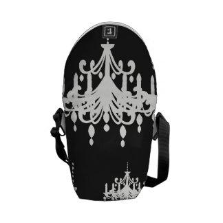 elegant chandelier black white damask courier bag
