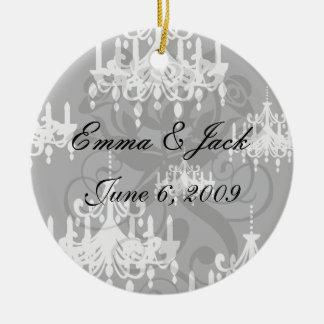 elegant chandelier black white damask Double-Sided ceramic round christmas ornament