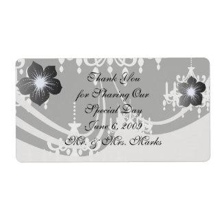 elegant chandelier black white damask shipping label