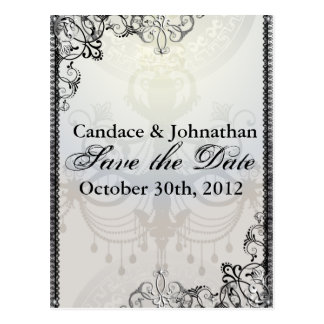 Elegant Chandelier & Flourishes Save the Date Postcard