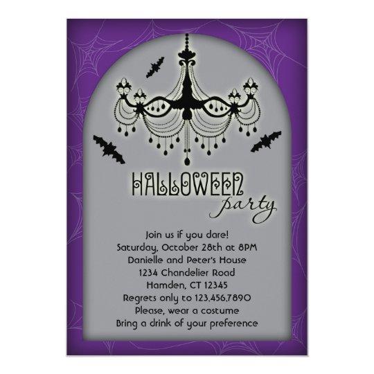 Elegant Chandelier Halloween Invitation