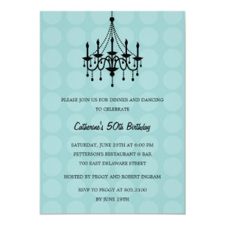 Elegant Chandelier Party Invitation - Turquoise Cards